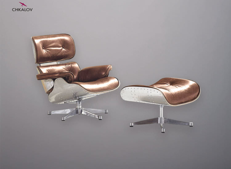 Кресло Aviator Eames Lounge / Leather фотография медовый виски цвет